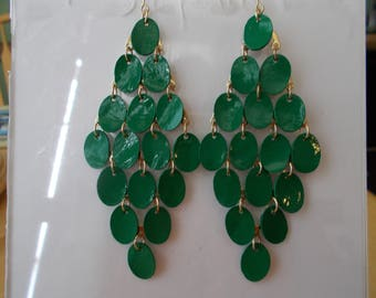 Gold Tone Dangle Earrings with Layered Green Disc Beads