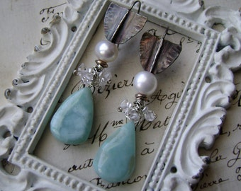 Island Romance, larimar pearl earrings, herkimer diamonds, sterling silver, semiprecious, silver larimar, larimar jewelry,  Anvil Artifacts