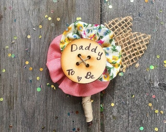 Rustic Burlap Daddy to Be Pin // Father to Be Pin in Rustic Wood or Chalkboard Baby Shower // Dad to be Boutonniere // Custom Made
