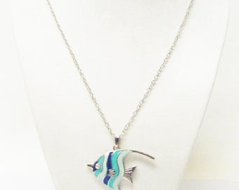 Multicolor on Silver Finished Oceanside Fish Pendant Necklace