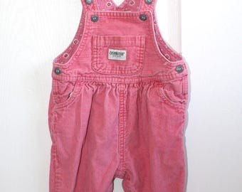 Vintage Pink Corduroy OshKosh Bib Overalls . Baby Girl's Overall Pants Dungarees . Size 12 Months
