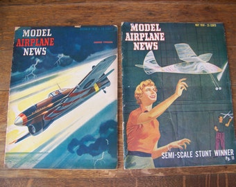 Vintage Model Airplane News Magazines(set of 2)1943 & 1950.Model Airplane Magazines.Pilot Gift.Aviation Gifts.Gifts for Him.Flying Magazines
