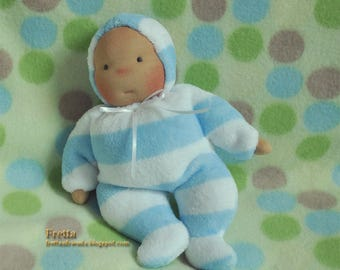 """ON HOLD for Kathy. Fretta's Waldorf style floppy Baby, 11"""" / 28 cm tall. Soft child friendly baby doll."""