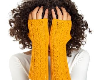 Herringbone Arm warmers From Pure Merino Yarn Texting Gloves Fingerless Gloves Fingerless Arm warmers Woollen Gloves
