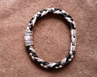 Braided Horsehair Bracelet with Sterling Silver Smooth Tube Bead, Bali Style Accent Beads and a Sterling Swivel Lobster Clasp