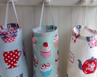Your Choice of One Grocery Bag Holder/Dispenser: Tea Pots on White, Cupcakes on Mint or Tea Pots on Blue