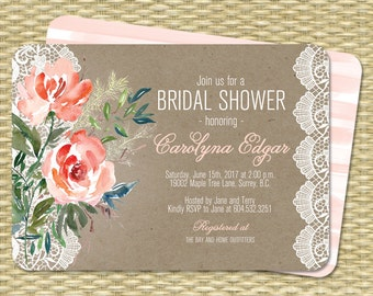 Rustic Bridal Shower Invitation Printable Kraft Peach Coral Mint Watercolor Floral Lace Bridal Brunch Country Style