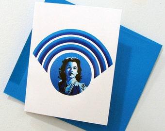 Hedy Lamarr - Art Notecard - Women Throughout History - Wi-fi - by Bonnie Fillenwarth