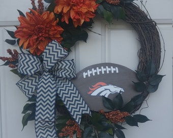 Denver Broncos Wreath, Bronco Wreath,Denver Football Wreath, Denver Broncos , NFL Wreath
