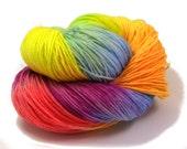 Rainbow Sock Yarn Hand  Dyed  - Hand painted Sock Yarn Merino - Sock Yarn Fingering -  yellow, green  pink kinitting - hand dyed yarn - OOAK