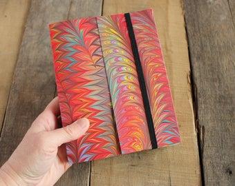 Handmade Blank Book - Notebook, Travel Journal, Art Journal - Hand-Marbled Paperback Cover - Item #8002