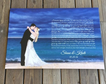 Your favorite wedding photo with vows, or song lyrics on canvas, outdoor wedding photo