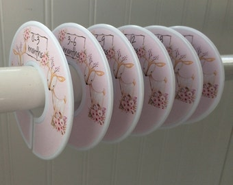 6 Baby Closet Dividers Girl Deer Clothes Dividers Closet Organizers  Watercolor Baby Gift Woodland Girl Baby Nursery