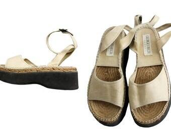 1990s Georges Rech Paris Wedge Sandals Cord & linen  euro40 us9/ 90s wedge sandals 9