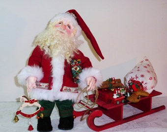 Santa doll; OOAK handmade Santa Claus and sleigh Christmas doll