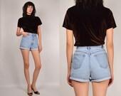 High Waisted Denim Cuffed Shorts Vintage XS