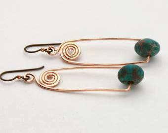 Copper Swirl and Turquoise Marbled Bead Earrings