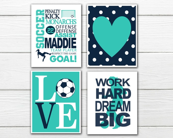 Soccer Wall Art Set - Girl's Soccer - Soccer Love