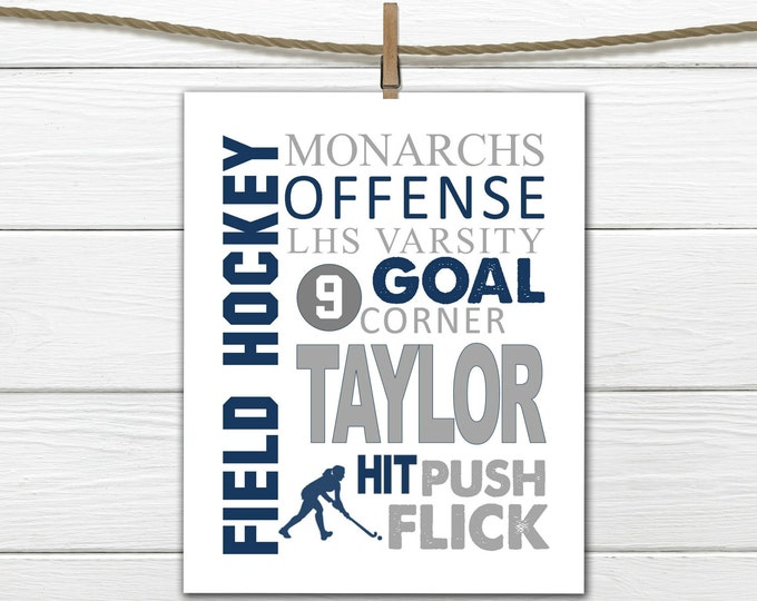 Field Hockey  Word Art Print - Custom Colors -  Custom & Personalized Field Hockey