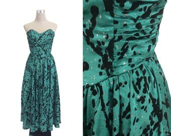 Vintage Gina Bacconi Prom Dress - Silver Glitter / Black Flocked / Emerald Green Satin Dress - 80's Dress -  XXS XS Satin Formal Dress