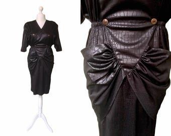 Black 80's Dress - Vintage 1980's Dress - Lizard Effect Dress - Goth | Clubbing | Rock Dress