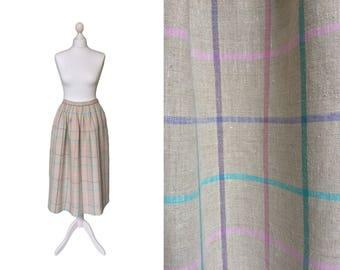Vintage Linen Skirt | Dirndl Skirt | 80's Vintage Skirt | Check Ecru Midi Skirt