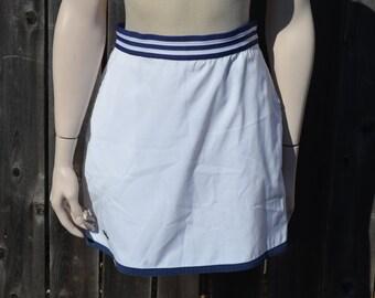 Nautical Skirt, Ellesse Skirt, Size 10, White and Navy Blue Women's Skirt, Short Skirt, Mini Skirt, Casual Skirt, Hipster, Early 90's