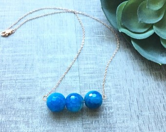 blue agate | bar necklace | rose gold | handmade jewelry