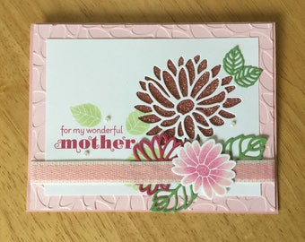 Stampin Up handmade Mother's Day card - Happy Mother's Day with sparkles flowers