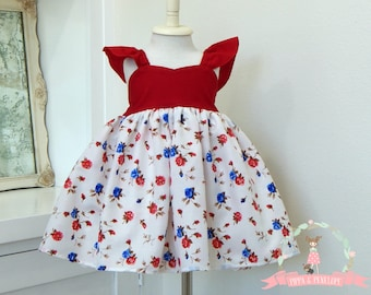 Little Girl Dresses, Fourth of July Dress, July 4th Dress, Little Girl Dress, Toddler Dresses, Red, White and Blue Dress, 2T