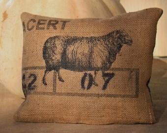 Burlap Sheep Throw Pillow