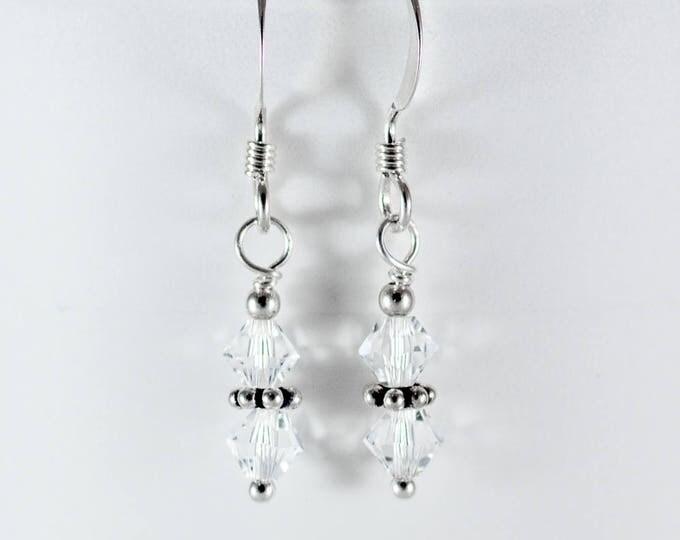 Crystal Earrings - Swarovski Earrings - Sparkly Earrings - Bead Earrings - Dangle Earrings - 4 mm Clear - On Silver or Gold