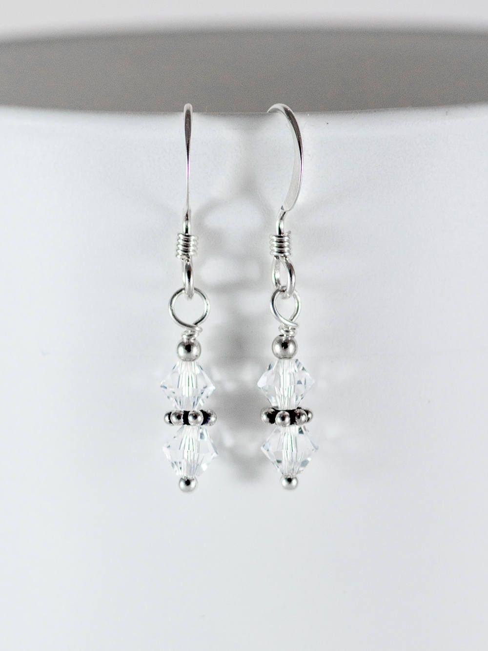 Crystal Earrings  Swarovski Earrings  Sparkly Earrings  Bead Earrings   Dangle Earrings  4 Mm Clear  On Silver Or Gold