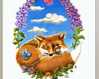 Fox in Floral Wreath Scene with Butterfly - Watercolor Painting Art Prints- Available in 5x7 or 8.5x11- Cozy gift for Home Decor