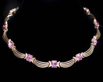 Vintage Trifari Pink Rhinestone Choker Link Necklace Brushed Goldtone