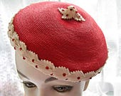 Vintage Straw Hat Woven Red Beret, Spring Sunday Church Hat, Young Girls Beret, Ladies Pillbox Hat, Red Stones, Bows, Winkleman's c. 1960s