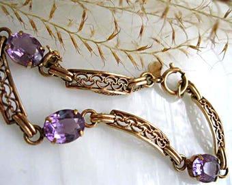 Vintage Amethyst Goldfilled Bracelet, Purple Oval Faceted Stones, signed Amco 14kgf, Scrolled Curved Open Links