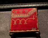 Antique Foot Stool Metal Legs Red Mohair Top