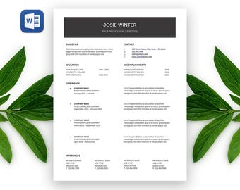 SALE Josie Modern RESUME Template | Custom Professional Crafted Layout for Resume Cover Letter in Editable Word Doc File | Printable Resume