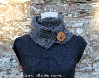 KNITTING PATTERN for women- skinny button scarf neckwarmer pattern - Listing83