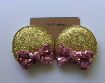 Mouse Clips in gold and pink perfect for pigtails to look like EARs Minnie inspired