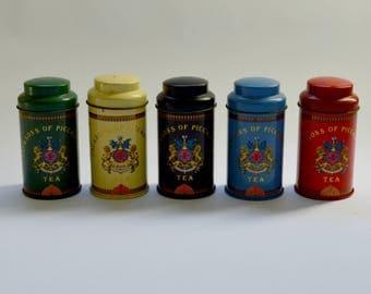 Vintage Set of 5 Jacksons Of Piccadilly Miniature Tea Tins