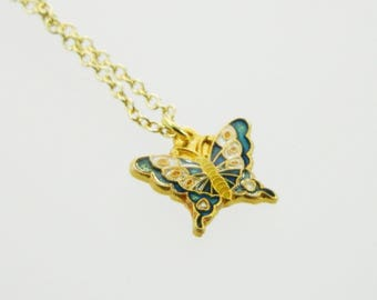 Navy Cloisonne Butterfly Charm Necklace