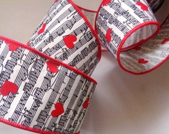 "Heart Notes Wired Wide Ribbon, Multi, 2 1/2"" inch wide, 1 yard For For Gift Packing, Wreaths, Center Pieces, Home Decor"