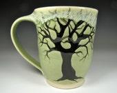 stoneware pottery mugs, tree mug large mug ceramic mug, mugs, green mugs, handmade mugs, cups, cup, coffee mugs, coffee cup, tea cups