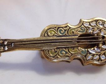Damascene Floral Guitar Brooch Spain