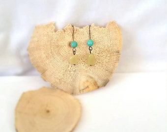 Turquoise & Butter Jade Earrings