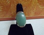 Beautiful Green Jade Statement Ring-Size 8-R650