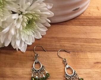 Earrings, Dangle Drop Earrings, Sliver Tone, Olivine Swarvoski Crystals, Free shipping, USA, #37