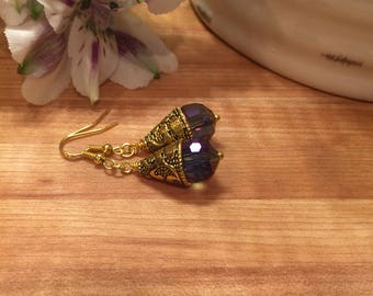 Earrings, Gold Tone Etched Cone, Dangle, Multi faceted crystal, Hook Ear Wire,  Free shipping, USA, #93